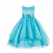 Tiffany Asymmetric Ruffled Organza Sequin Flower Girl Dress 012S