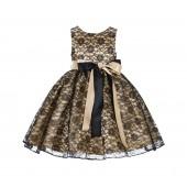 Gold/Black Floral Lace Overlay Ribbon Sash Flower Girl Dress 163R