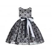 Black/Ivory Floral Lace Overlay Ribbon Sash Flower Girl Dress 163R