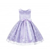 Lilac/White Floral Lace Overlay Ribbon Sash Flower Girl Dress 163R