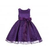 Purple/Purple Floral Lace Overlay Ribbon Sash Flower Girl Dress 163R
