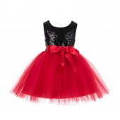 Black/Red/Red Glitter Sequin Tulle Flower Girl Dress Recital Ceremony 123S