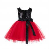 Black/Red/Black Glitter Sequin Tulle Flower Girl Dress Recital Ceremony 123S