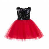 Black/Red/Black Glitter Sequin Tulle Flower Girl Dress Party Ball Gown 123RF
