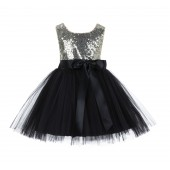 Gold/Black/Black Glitter Sequin Tulle Flower Girl Dress Recital Ceremony 123S