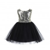 Gold/Black/Black Glitter Sequin Tulle Flower Girl Dress Party Ball Gown 123RF