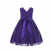 Purple Yoryu Chiffon V-neck Flower Girl Dress Formal Elegant S1503