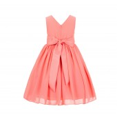 Coral Yoryu Chiffon V-neck Flower Girl Dress Formal Elegant S1503