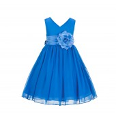 Cornflower Yoryu Chiffon V-neck Flower Girl Dress Formal Stylish 1503