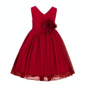 Red V-Neck Yoryu Chiffon Flower Girl Dress Event Occasions 503NF