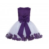 Purple Rose Petals Tulle Flower Girl Dress Special Gown 305NT