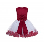 Apple Red Rose Petals Tulle Flower Girl Dress Special Gown 305NT