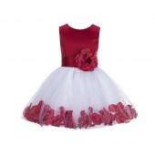 Apple Red Rose Petals Tulle Flower Girl Dress Formal Wear 305NS
