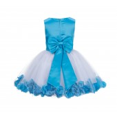 Turquoise Rose Petals Tulle Flower Girl Dress Special Gown 305NT
