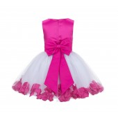 Fuchsia Rose Petals Tulle Flower Girl Dress Special Gown 305NT