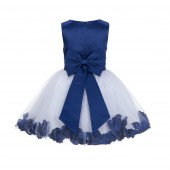 Navy Blue Rose Petals Tulle Flower Girl Dress Special Gown 305NT