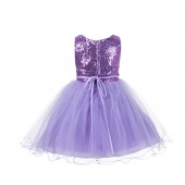 Lilac Glitter Sequin Tulle Flower Girl Dress Reception Recital 011NF