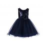 Marine Glitter Sequin Tulle Flower Girl Dress Birthday Party 011