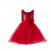 Red Glitter Sequin Tulle Flower Girl Dress Birthday Party 011