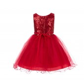 Red Glitter Sequin Tulle Flower Girl Dress Birthday Party 011