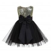 Gold/Black/Black Glitter Sequin Tulle Flower Girl Dress Toddler Dresses 123T
