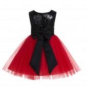 black/Red/Black Glitter Sequin Tulle Flower Girl Dress Toddler Dresses 123T