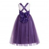 Purple Crossed Straps A-Line Flower Girl Dress 177