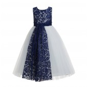 Navy Blue Floral Lace Heart Cutout Flower Girl Dress 172