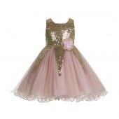 Gold / Blush Pink Sequin Flower Girl Dress Pageant 176