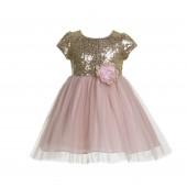 Gold / Blush Cap Sleeves Sequin Flower Girl Dress 175