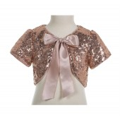 Rose Gold Short Sleeve Sequins Jacket Bolero