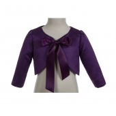 Purple 3/4 Sleeve Satin Jacket Bolero