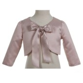 Blush Pink 3/4 Sleeve Satin Jacket Bolero