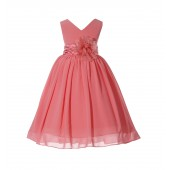 Coral V-Neck Yoryu Chiffon Flower Girl Dress Event Occasions 503NF