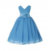 Turquoise V-Neck Yoryu Chiffon Flower Girl Dress Event Occasions 503NF