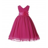 Fuchsia V-Neck Yoryu Chiffon Flower Girl Dress Event Occasions 503NF