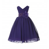 Purple V-Neck Yoryu Chiffon Flower Girl Dress Event Occasions 503NF