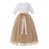 Rose Gold Eyelash Lace Flower Girl Dress A-Line Tulle Dress LG5