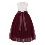 Burgundy Scalloped V-Back Lace A-Line Flower Girl Dress 207R