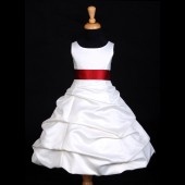 Ivory/Apple Red Satin Pick-Up Bubble Flower Girl Dress V2 806S