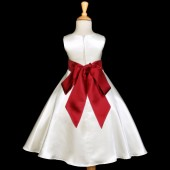 Ivory/Apple Red A-Line Satin Flower Girl Dress Pageant Reception 821S