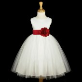 Ivory/Apple Red Satin Tulle Flower Girl Dress Wedding Pageant 831S