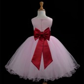 Pink/Apple Red Tulle Rattail Edge Flower Girl Dress Fairy Princess 829T