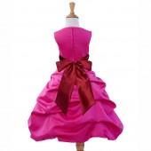 Fuchsia/Apple Red Satin Pick-Up Bubble Flower Girl Dress Elegant 806S