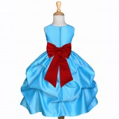Turquoise/Apple Red Satin Pick-Up Flower Girl Dress Receptions 208T