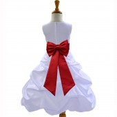 White/Apple Red Satin Pick-Up Bubble Flower Girl Dress Wedding 808T