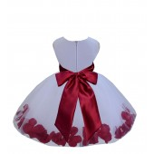 White/Apple Red Tulle Rose Petals Knee Length Flower Girl Dress 306S