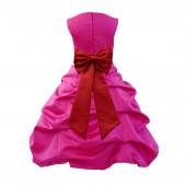 Fuchsia/Apple Red Satin Pick-Up Bubble Flower Girl Dress Christmas Easter 808T