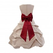 Champagne/Apple Red Satin Pick-Up Bubble Flower Girl Dress Special Occasion 808T