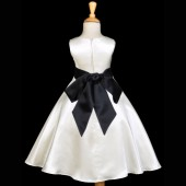 Ivory/Black A-Line Satin Flower Girl Dress Pageant Reception 821S